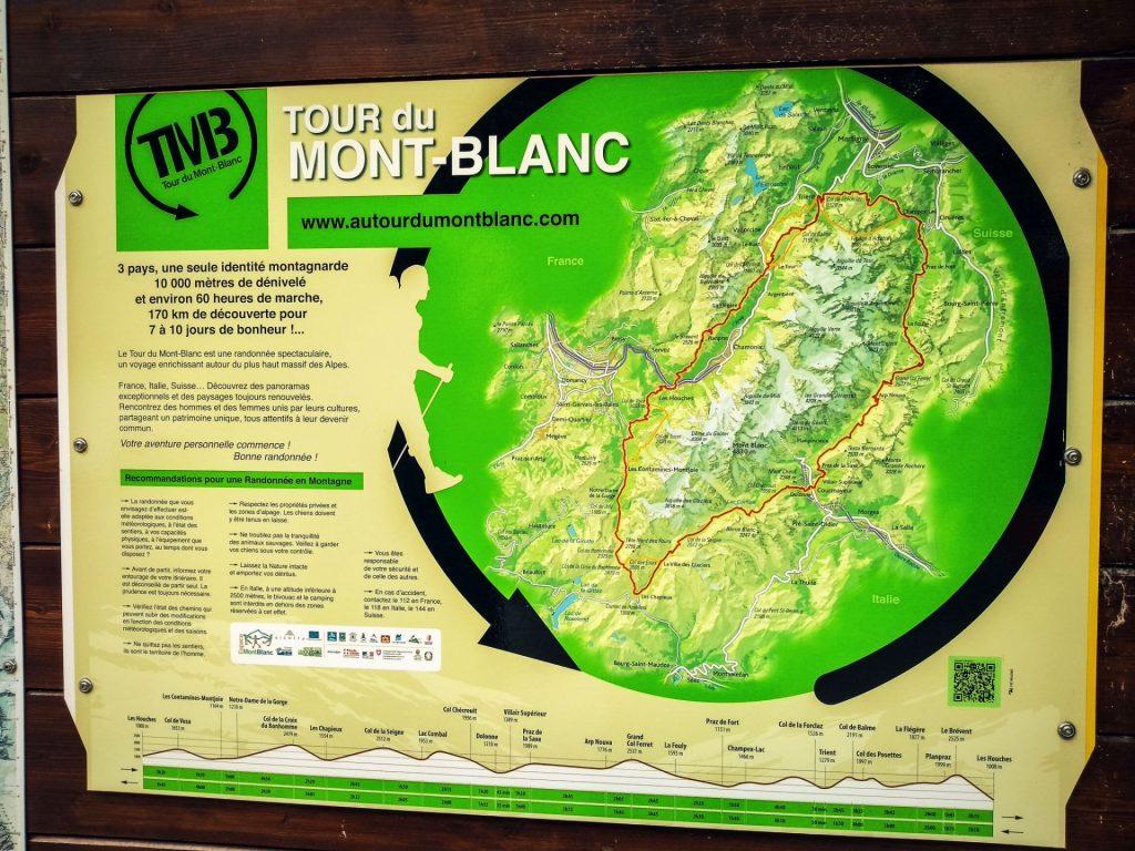 Schemat szlaku wokół Mont Blanc