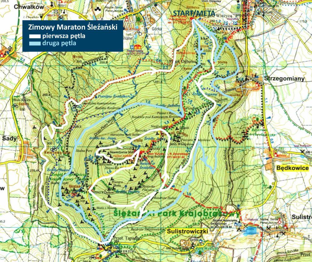 mapa zmimoy górski półmartaton ślężański