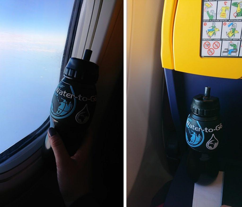 butelki z filtrem samolot