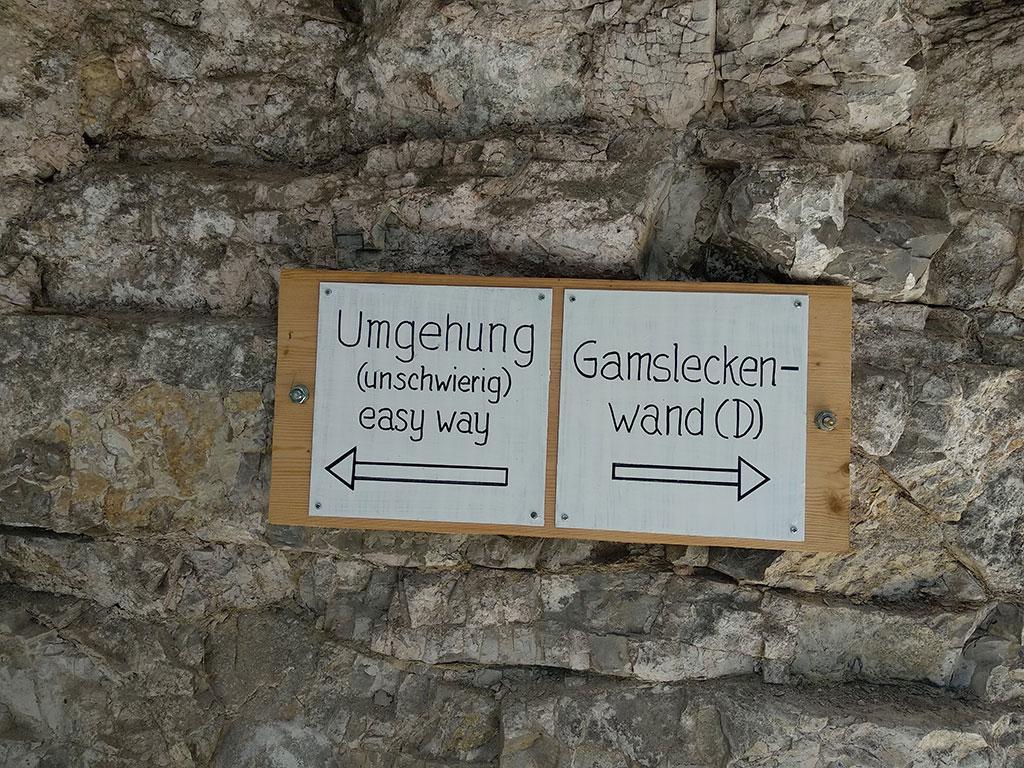 dwie tabliczki obok siebie - jedna ze strzałką w prawo kierująca do wariantu D via ferraty, druga, skierowana w lewo z informacją o obejściu trudności (wszystkie informacje po niemiecku, dodatkowa informacja easy way po angielsku)
