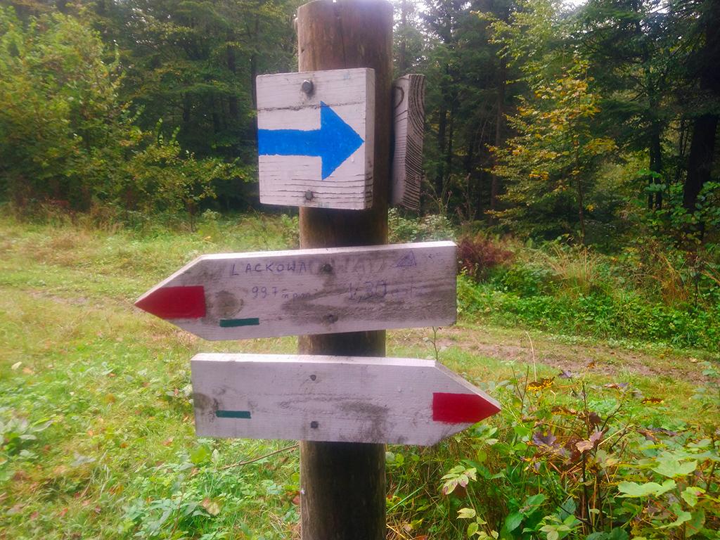 przełęcz Beskid - drogowskaz na Lackową